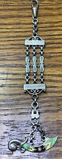 Pocket Watch Fob Chain, Vest F48 Fantastic Antique Victorian Silver Enamel Sword