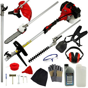 52cc 5 in 1 Multi Tool Petrol Strimmer Trimmer Cutter Garden Chainsaw Engine Oil