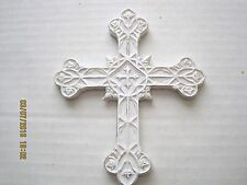 "Floral Picks Cross White Silver 3D Resin 17"" Easter Religious Pk/4 Indoor/Out!"