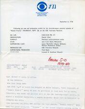 JACK LORD HAWAII FIVE-O RARE ORIGINAL 1978 CBS TV PRESS MATERIAL