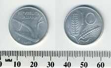 Italy 1955  - 10 Lire Aluminum Coin - Plow - Value within wheat ears