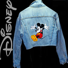 ❤️❤️❤️ Disney Jumping Mickey Mouse Denim Jacket Embroidered Peace Love Hearts M