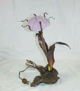 Vtg Mid Century Brutalist Metal & Sea Urchin Burl Wood Base Lamp C.Jere Style