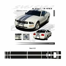 Ford Mustang GT 2005 to 2009 Gloss Black Bumper to Bumper Stripes Graphic Kit