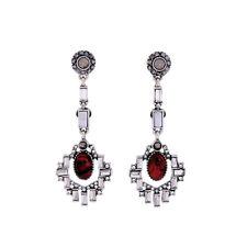 Boucles d`Oreilles Argenté Art Deco Chandelier Geometrique Rouge Ethnique AA22