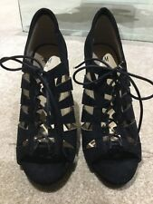 H&M Black Lace Up High Heeled Shoes Size 5 Faux Suede Anckle Boots