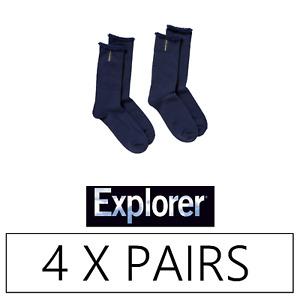 4 x EXPLORER MENS ORIGINAL WOOL SOCKS - 6-10 11-14 Navy