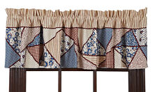 MILLIE VALANCE WINDOW TREATMENT 16X72 LINED RED / CREAM / BLUE CRAZY PATCHWORK