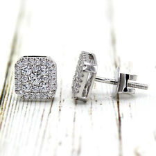 Cluster High Quality Simulated Diamond Earring Modified Cushion 9kt White gold