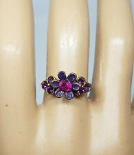 Michal Negrin Romantic hand made Swarovsky Crystals flower ring  Purple