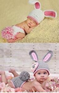 UK Newborn Baby Rabbit Bunny Crochet Knit Costume Outfit Photo Photography Prop