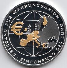10 Euro 2002 Übergang zur Währungsunion PP mit Goldapplikation Silber 925/-