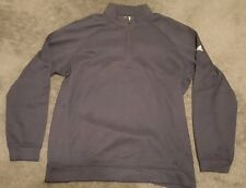 NWT Mens Adidas Golf Half Zip 3 Stripes Mock Sweater Pullover Navy Blue White XL