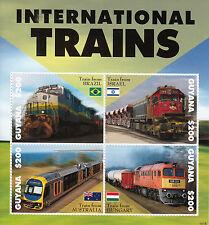 Guyana 2014 MNH International Trains 4v M/S Railways Brazil Israel Stamps