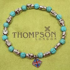 Thompson of London Mens Beaded Skull Bracelet 19cm Turquoise Stones NWOT