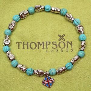 Thompson of London Mens Beaded Bracelet 17.5cm Turquoise Stones Skulls NWOT