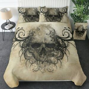 Gothic Skull Black Abstract Art King Queen Twin Quilt Duvet Pillow Cover Bed Set