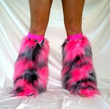 UV GLOW BLACK WHITE PINK FLUFFY BOOT COVERS FLUFFIES FUZZY RAVE CYBER NEON FURRY