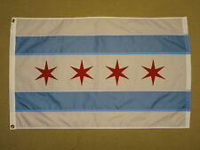 City of Chicago Sewn Stripes Stars Indoor Outdoor Nylon Flag Grommets 2' X 3'