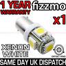XENON 5 SMD LED 433 433c 434 BAX9S H6W BAYONET OFFSET LIGHT BULB 6000k WHITE
