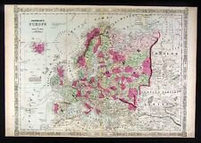 1864 Johnson Map Europe Great Britan Russia Italy Spain Germany France Belgium
