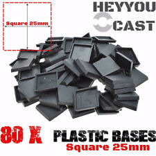 80pcs x 25mm Square Bases Plastic for Miniatures and Wargame Model Bases New