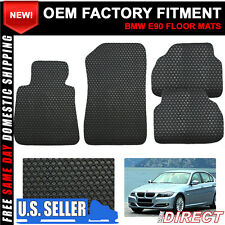 Fit 05-09 BMW E90 3 Series Car Floor Mats Carpet Front Rear Latex Black 4PC