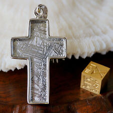 Natural Gibeon Meteorite Cross Shape Silver Plated Pendant 39x26x5mm 15Grams