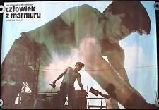 MAN OF MARBLE Original 1977 Polish Movie Poster * Andrzej Wajda * Blue style