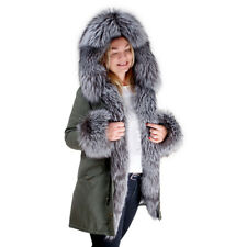 Military Parka With Hood Cuffs & Front of Silver Fox Fur! Jacket Coat Real Fur