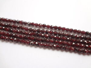 4mm Faceted Round Natural Red Garnet Gemstone Beads - Half Strand, 45pcs
