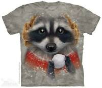 WOMEN'S T-SHIRT SNOWBALL RACCOON STONEWASHED MULTICOLORED GRAPHIC TEE SIZE XL