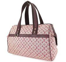 Authentic LOUIS VUITTON Josephine GM Red Mini Lin Hand Bag Purse #25535