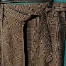 Skirt UK 16 Wool Blend Check Tie Belted Panel Trumpet Plaid Brown Career Prop
