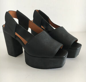 AND OTHER STORIES LADIES NEW LEATHER PLATFORM SHOES BLACK UK4 EU37 RRP £55