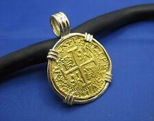 Museum Quality Replica 24k Escudo Shipwreck Coin Pendant Inside Custom 14k Bezel