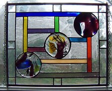 Stained Glass Panel Fused Circle Windy Bliss Crystal Tiffany Style 13 1/2 x 11