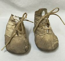 Victorian Leather Baby Shoes Antique Early 1900s Shoestring Tie Doll Boots Worn