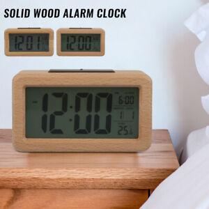 Réveil numérique Thermomètre en bois Affichage Veilleuse Snooze Minuterie SH