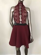 NWT Rare London beet wine A-line fit and flare lace inserts dress US size 8 UK14