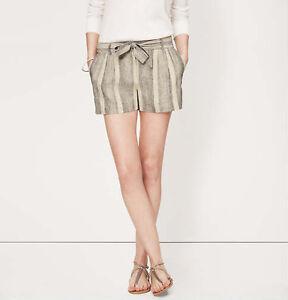 Ann Taylor LOFT Stripe Tie Waist Linen Blend Shorts with 3 Inch Inseam Size 12