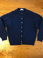 Vintage PENDLETON Women's LARGE 100% Wool Button Front Cardigan Sweater Blue