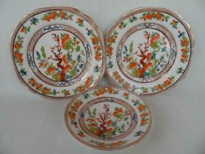 Antique Vintage Art Deco Doric china England Hand painted Indian tree plates