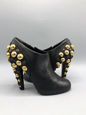 Gucci Black Leather Boots Size 3.5 UK 35.5 Eur Low Ankle High Heel Studded Boots