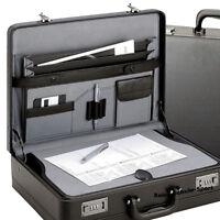 D&N  Aktenkoffer Aktentasche Zahlenschloß Leder Optik schwarz Schreibplatte