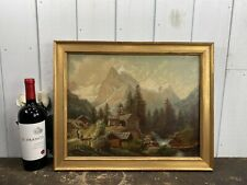 Primitive O/C Painting American Mountain Landscape Signed Mary Grennan 19thC