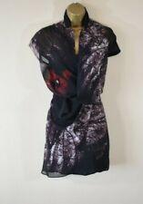 £85 NEW RELIGION 8 Silky Draped Chiffon Abstract Print Mini Dress