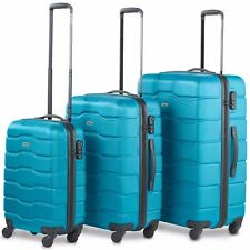 VonHaus Luggage Set of 3 ABS Lightweight Hard Shell Teal Suitcase - 4 Wheel 360