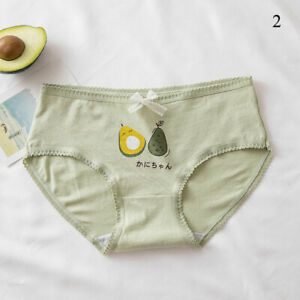 Women's Girls Avocado Print Cotton Panties Lace Bow Briefs Seamless Underpants