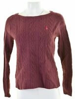 JACK WILLS Womens Crew Neck Jumper Sweater UK 14 Medium Maroon Lambswool  ML07